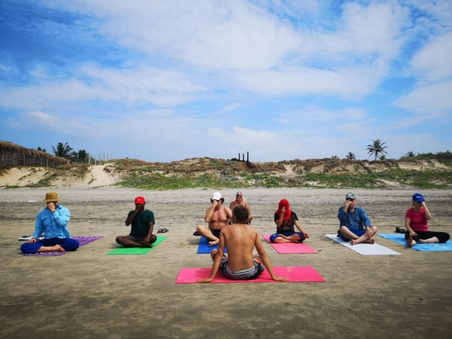 Beach Group Meditation Goa meyotra yoga tantra